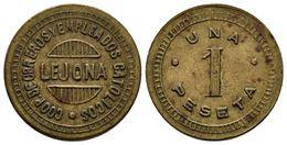 LEJONA (Vizcaya). 1 Peseta. Cooperativa De Obreros Y Empleados Católicos. La. 5,54g. MBC. - Tokens & Medals