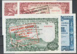 Conjunto De 4 Billetes De Guinea Ecuatorial De La Emisión Del 12 De Octubre De 1969 De 100 Y 1000 Pesetas Guineanas Y De - Banknotes