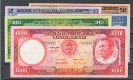 Serie Completa De Cinco Billetes De Guinea Ecuatorial De La Emisión Del 7 De Julio De 1975. (WPM: 4/8). EBC+/SC. - Banknotes