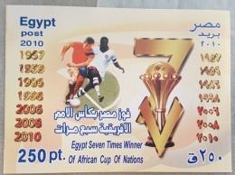HX - Egypt 2010 MNH Block Souvenir Sheet - Seven Times Winners Of Africa Cup Of Nations, Football - Ongebruikt