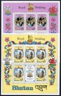 Bhutan 1981 Royal Wedding Charles Diana St Paul's Cathedral Dragon 2 X Sheetlets/5 MNH - Bhutan