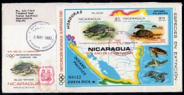 Nicaragua 1980 (May 3) Registered Fdc Marine Life Turtle Turtles Map M/s – A Little Grubby, Odd Fox Spot. - Nicaragua