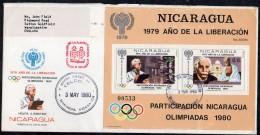 Nicaragua 1980 (May 3) Fdc MS 2229 Einstein Ghandi IYC 1980 Moscow Olympics Taj Mahal - Nicaragua