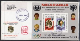 Nicaragua 1980 (May 3) SG MS 2213 Fdc Train Concorde IYC 1980 Moscow Olympics Child - Nicaragua
