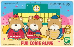 JAPAN H-221 Magnetic NTT [330-14036] - Cartoon, Animal, Bear - Used - Japan