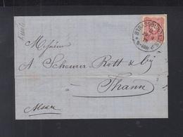 Dt. Reich Elsass Faltbrief 1875 Strassburg Nach Thann - Allemagne