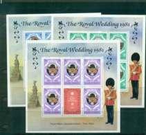 Maldive Is 1981 Charles & Diana Wedding Changed Colours 3x Sheetlets MUH Lot45104 - Maldives (1965-...)