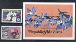 Maldive Is 1984 AUSIPEX, Flowers, Orchids + MS MUH - Maldives (1965-...)