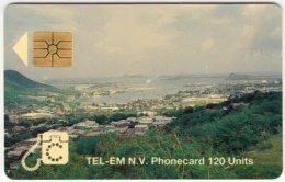 SINT MAARTEN A-032 Chip Tel-EM - View, Town, Harbour - Used - Antilles (Netherlands)