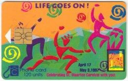 SINT MAARTEN A-034 Chip Tel-EM - Painting, Event, Carnival - Used - Antilles (Netherlands)