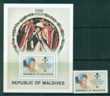 Maldives 1980 Queen Mother 80th Birthday + MS MUH Lot30411 - Maldives (1965-...)