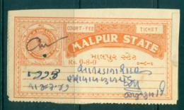 Malpur State 1930+ Court Fee 8a Orange Lot36520 - India