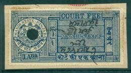 Mandi State 1930-40 Court Fee 1a Blue Lot36552 - India