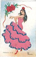 DANSEUSE DE FLAMENCO - ANDALUCIA - Robe En Fil - écrite Au Verso - Dances