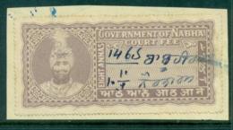 Nabha State 1930-40 Court Fee Ty.11 8a Dull Purple Lot36746 - India