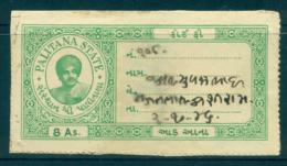 Palitana State 1920-45 Court Fee Ty.14 8a Green Lot36648 - India