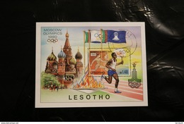 Lesotho 296 Moscow Olympics Torch Bearers Souvenir Sheet Block Cancelled In Perfect Shape 1980 A04s - Lesotho (1966-...)