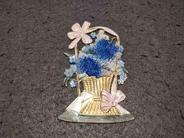 RARE ANTIQUE DIE CUT SCRAP PLASTIC BASKET WITH FLOWERS - Flowers