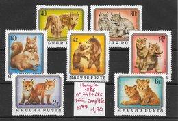 Mammifère écureuil Lion Loup Lynx Ours Renard Sanglier - Hongrie N°2480 à 2486 1976 ** - Francobolli
