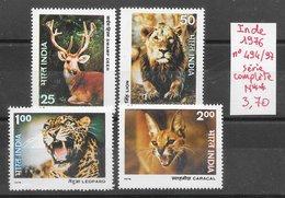 Mammifère Félin Caracal Cerf Léopard Lion - Inde N°494 à 497 1976 ** - Non Classés
