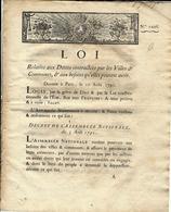 1791 REVOLUTION LOI FINANCEMENT DETTES VILLES ET COMMUNES VENTE OU NON DE DOMAINES NATIONAUX ETC - Decrees & Laws