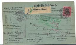 Kaiserreich XX001 / (19001918) 80 Pfg.Germania Ohne Wasserzeichenb1905 Auf Paketkarte Von Frankfurt Nach Luzern - Allemagne