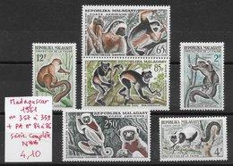 Mammifère Lémurien - Madagascar N°357 à 359, PA N°84 à 86 ** - Singes