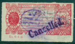 Sangli State 1930s Court Fee Ty.2 1a Red Lot36567 - Unclassified