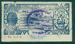 Sangli State 1930s Court Fee Ty.2 8a Blue Lot36569 - Unclassified