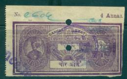 Sangli State 1939-41 Court Fee Ty.3 4a Purple Lot36572 - India