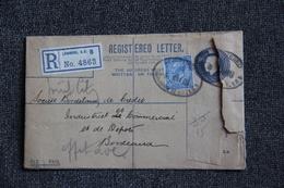 Lettre Recommandée ( Registred Letter ) De LONDRES Vers BORDEAUX, 1919. - 1902-1951 (Kings)