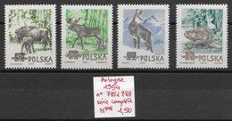 Mammifère Bison Castor Chamois élan - Pologne N°785 à 788 1954 ** - Timbres