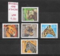 Mammifère Girafe Lion Phacochère  Rhinocéros Zèbre - Rhodésie Du Sud N°305 à 309 1959 ** - Stamps