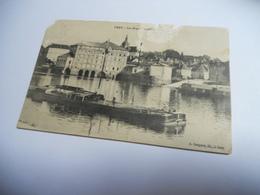 70 HAUTE SAONE CARTE ANCIENNE EN N/BL DE 1917 GRAY LES GRANDS ///  PENICHE BATEAUX - Gray