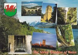 Postcard The Seven Wonders Of Wales Wrexham Steeple Snowdon Overton Llangollen Bridge Gresford My Ref  B23121 - Wales
