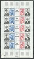 France Feuille Entière YT N°1698A Hommage Au Général De Gaulle (numérotée 34030 T.D.3-15)neuf ** - Feuilles Complètes