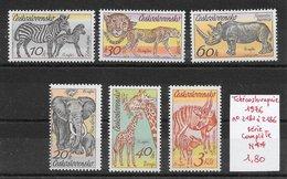 Mammifère Antilope Girafe Guépard Rhinocéros Zèbre - Tchécoslovaquie N°2181 à 2186 1976 ** - Non Classés