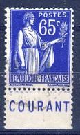 +France Advertising [199]. Yvert 365, COMPTE POSTAL , Braun 1003. Used - Advertising