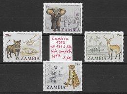 Mammifère Antilope éléphant Guépard Phacochère - Zambie N°181 à 184 1978 ** - Non Classés