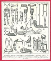 Orthopédie, Divers Appareils, Larousse 1908 - Old Paper