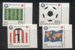 Singapore 2004 FIFA Football, Flock Coated MUH - Singapore (1959-...)
