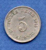 Allemagne  -  5 Pfennig  1914 J -  Km# 11 -  état  TTB+ - [ 2] 1871-1918 : German Empire