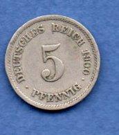Allemagne  -  5 Pfennig  1900 F -  Km# 11 -  état  TTB - [ 2] 1871-1918 : German Empire