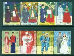 Singapore 2007 Traditional Wedding Costumes Strips MUH Lot23500 - Singapore (1959-...)