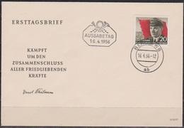 DDR FDC 1956 Nr.520  70.Geb. Ernst Thälmann (d 6184 ) Günstige Versandkosten - FDC: Briefe