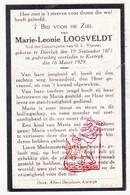 DP Marie L. Loosveldt ° Deerlijk 1871 † Kortrijk 1929 - Images Religieuses