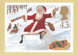 Postcard Christmas 1997 [ Snowball Cracker ] Father Christmas Santa Claus Royal Mail PHQ My Ref  B23124 - Stamps (pictures)