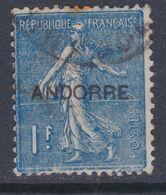 """Andorre N° 18 O Timbres De France Surchargés """"Andorre"""", Partie De Série : 1 F. Bleu Oblitéré Sinon  TB - Andorre Français"""
