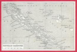 Carte De L'île De Nouvelle Calédonie, Larousse 1908 - Old Paper