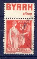 +France Advertising [171]. Yvert 283 III, BYRRH , Braun 754. Used - Publicités